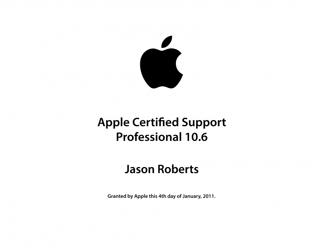 Apple Acsp 10 6 Recreation Certificate 1030796 Ubermac