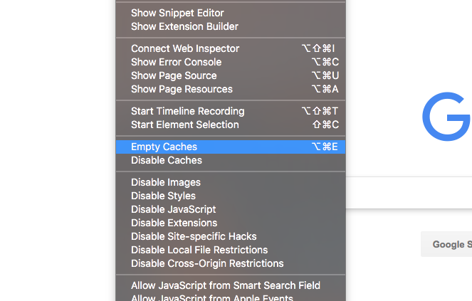 how to clear cache on mac safari